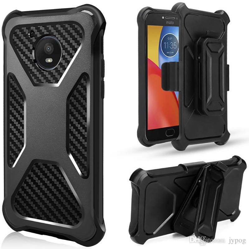 Para Moto E4 E4Plus Estuche 3in1 Defender Estuche rígido de goma resistente al agua de alto impacto para teléfono con clip giratorio para Moto E4