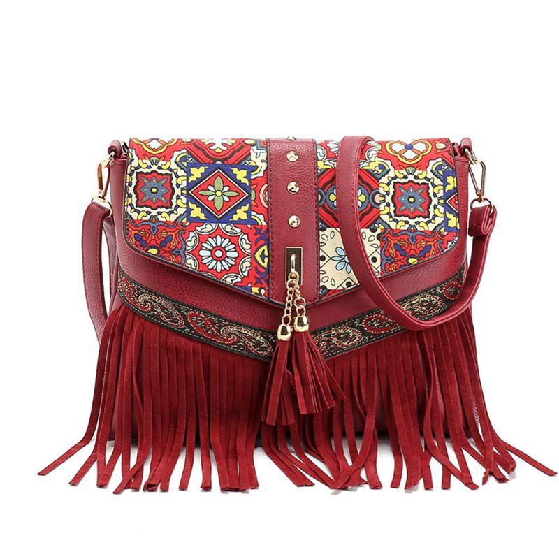 f94e9f5e2cdc Vintage Folk Bohemia Envelope Messenger Bag PU Leather Tassel Ethnic Cross  Body Bags India Nepal National Wind Handbags Fringe Clutch Purse Cross Body  ...