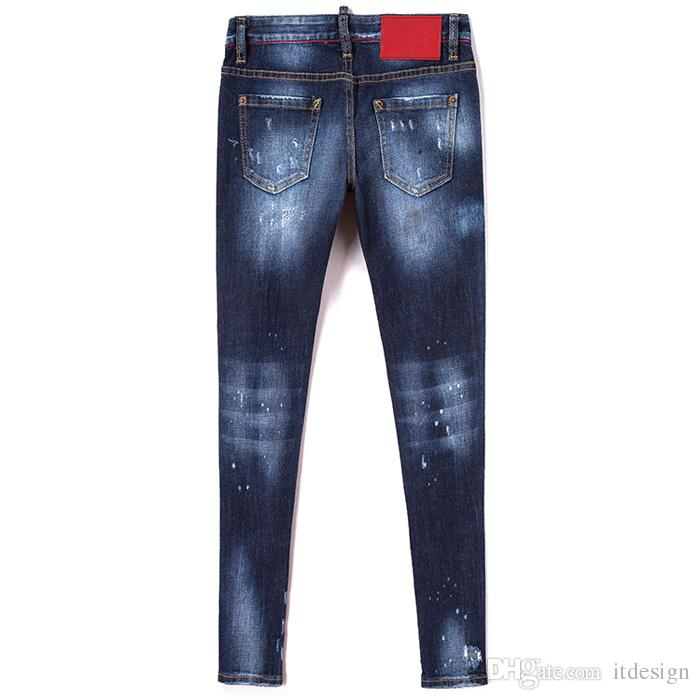 Sexy donna Jeans Skinny Fit effetto vernice afflosciata Hip Whisker Effetto Sbiadire Vintage Cool Girl