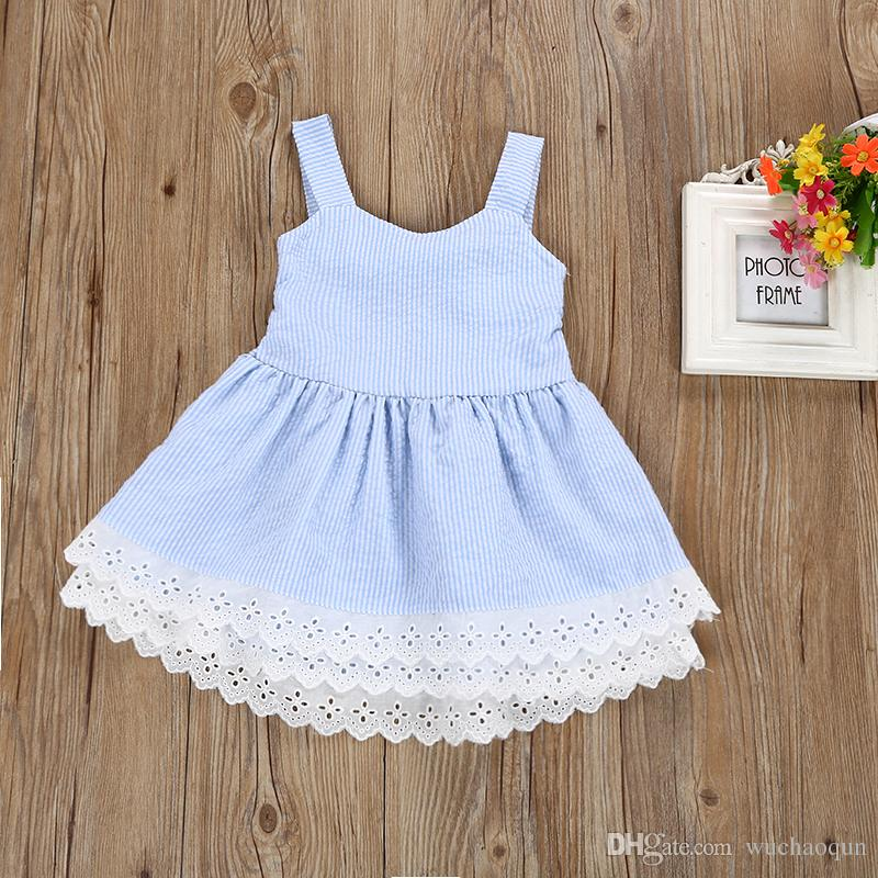 baby girl clothes Summer Dress Children girl Blue Striped Backless Bowknot Princess Dress Kids Fashion Lace Flower Cotton Frocks