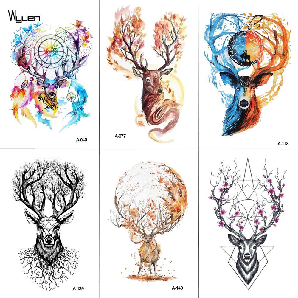 Acheter Wyuen Aquarelle Cerf Temporaire Tatouage Body Art