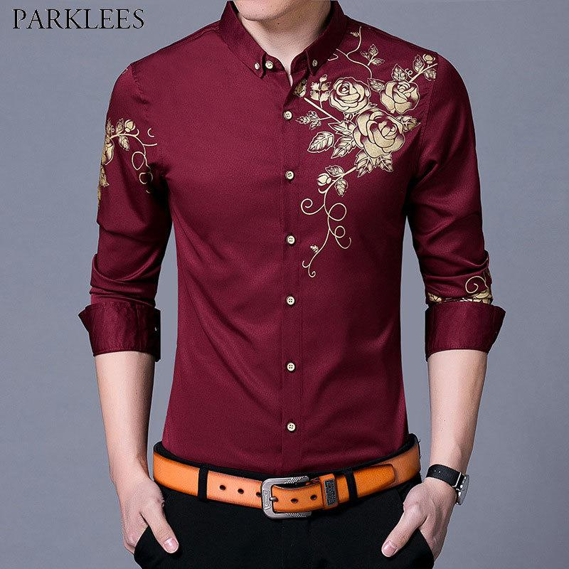 f3c806d8d 2019 Brand Wine Red Mens Dress Shirts 2018 Fashion Golden Rose Flower Print  Button Down Shirt Men Slim Fit Long Sleeve Chemise Homme D18102301 From  Shen06, ...