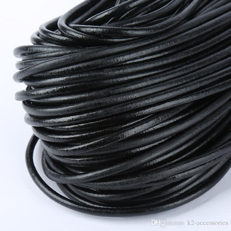 100metrs100% Real Genuine Leather Black 3 sizes Round Oxhide Real Leather Thong Bracelet Necklace Cords Wire Jewelry DIY Making String