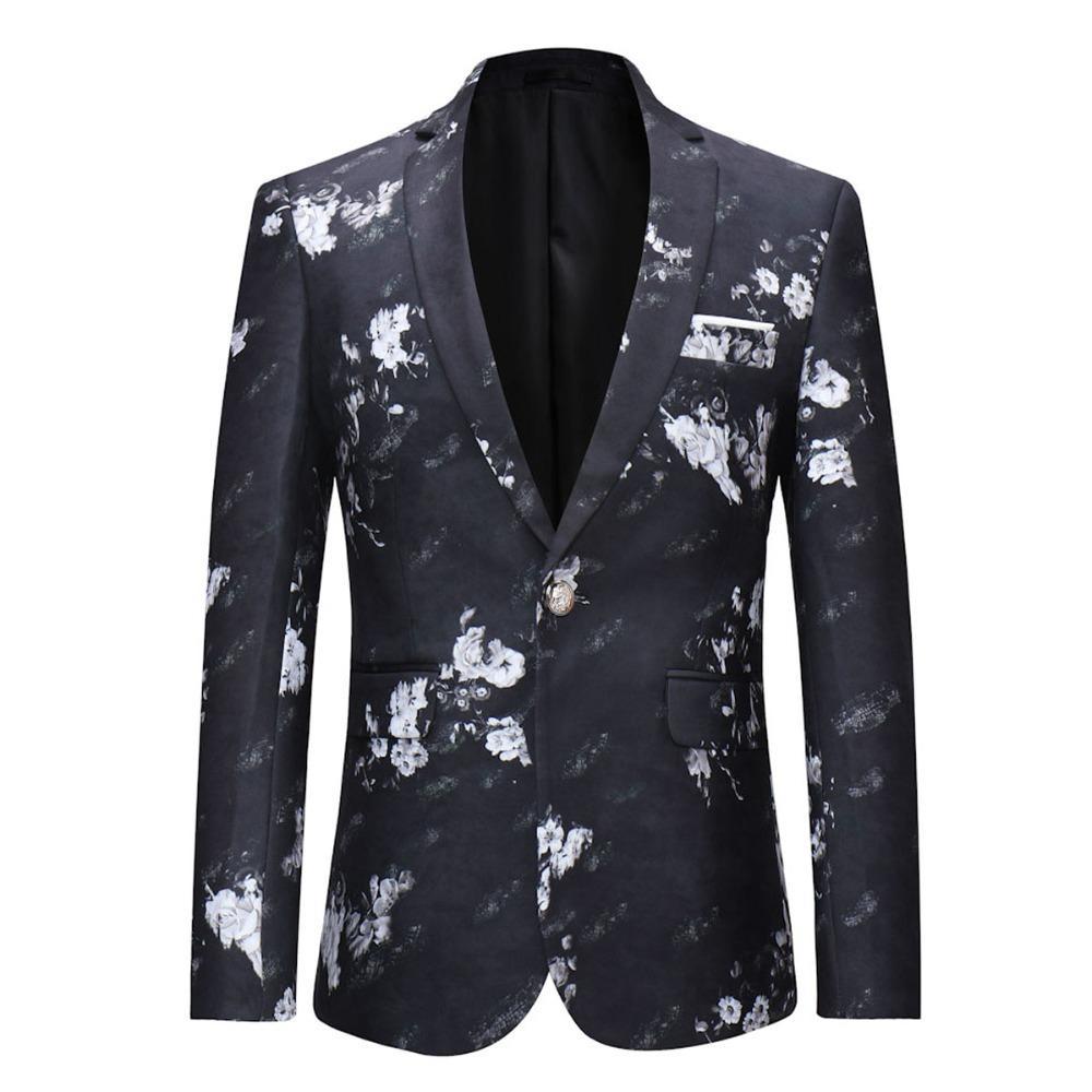 Großhandel Yffushi 2018 Floral Herren Anzug Jacke Frühling One Button Weiß  Blumendruck Schwarz Blazer Casual Style Slim Fit Fashion Von Splendid99, ... beaeb52b72