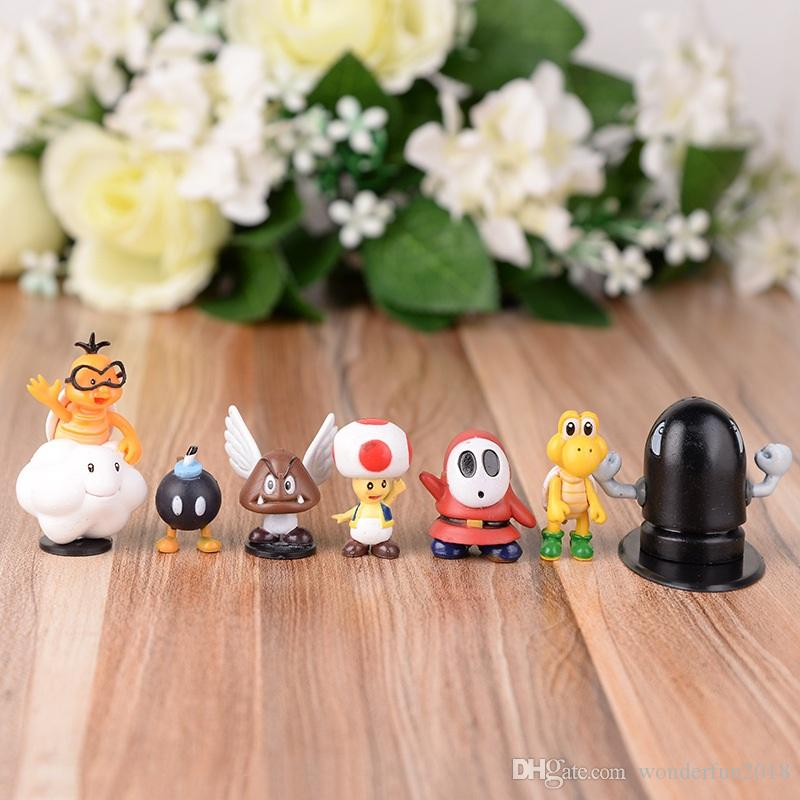 classical games figures Super Mario Bros yoshi dinosaur Peach toad Goomba PVC Action Figures toy collection toys kids gifts