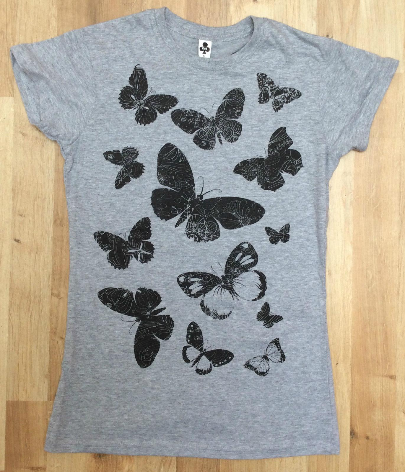 e73fe7e63f43e4 2019 New Womens Black Butterfly Floral Print T Shirt Womens Short Sleeve  Cotton Grey Lady Custom Printed Short Sleeve Tees From Shitan10, $11.75 |  DHgate.