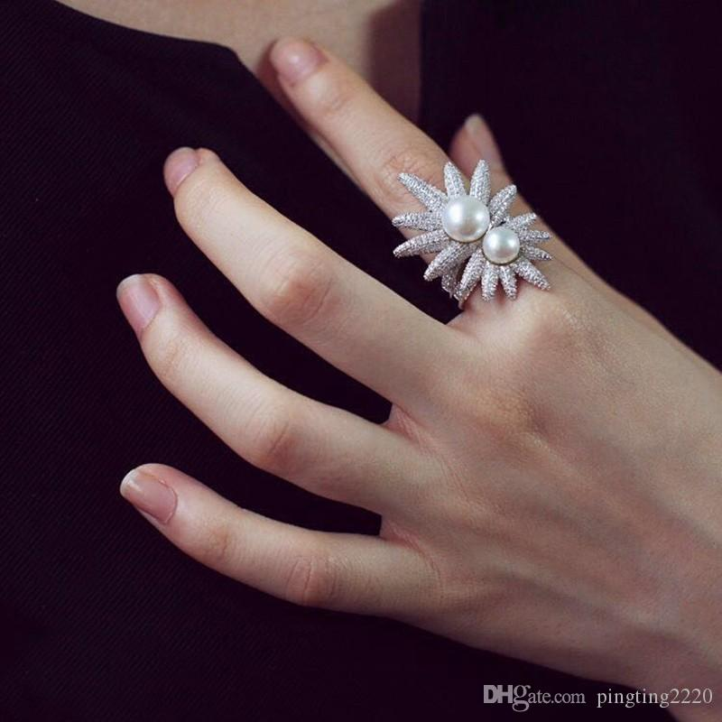 Monaco apm sunflower ring,Double pearl ring 925 sterling silver AAA zircon knuckle ring