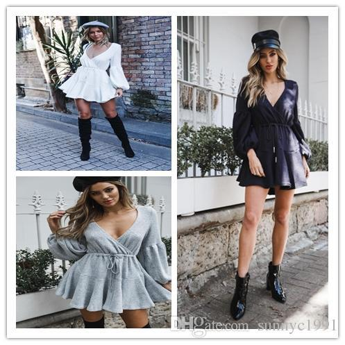 Women Autumn And Winter Sexy Fashion Lace-up Ruffled V Neck Long ... c9698db24031