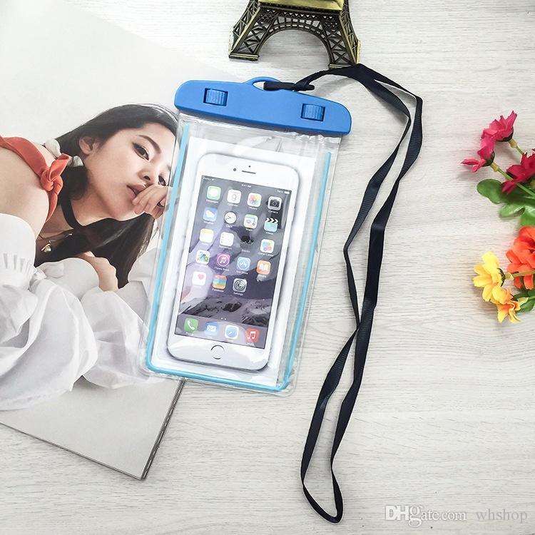 حقيبة مضادة للماء العالمي حقيبة الحقيبة الهاتف مضيئة لفون X 8 8S بالإضافة إلى سامسونج S9 S7 دليل على المياه للهاتف الخليوي