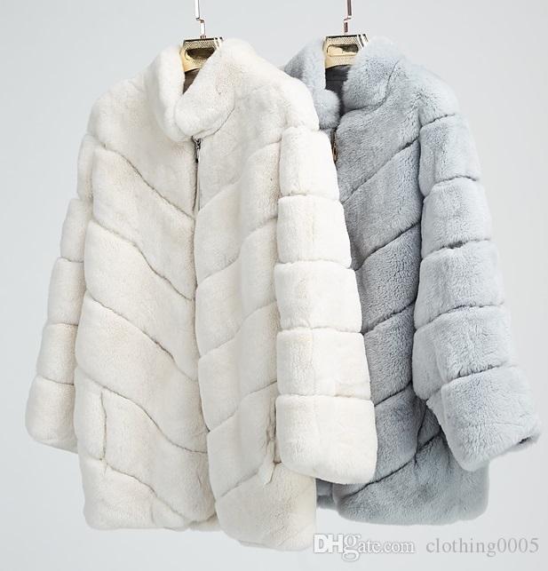 471a113ca Europa y Estados Unidos Mujeres Ropa de invierno Abrigo de piel sintética  Hight Imitación Abrigo de piel de conejo Abrigo de mujer