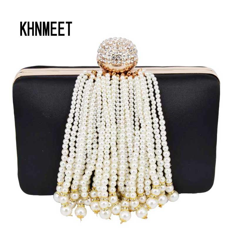 2017 Newest Pearl Tassel Evening Clutch Bags Black Satin With Crystal  Fashion Evening Bag Party Purse Pochette Female Bag 806 Expensive Handbags  Purses For ...