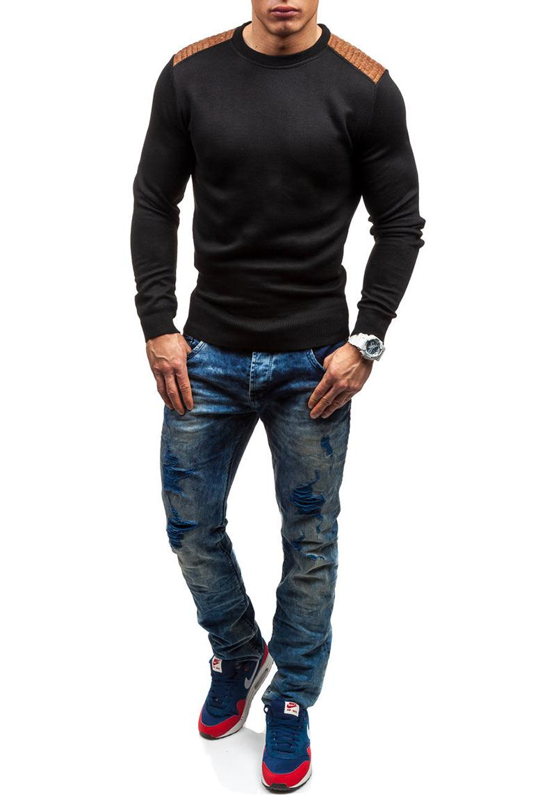 Chandail Pull Hommes 2018 Mâle Marque Casual Chandails Slim Hommes Suede Patch Hedging O-cou Hommes Pull