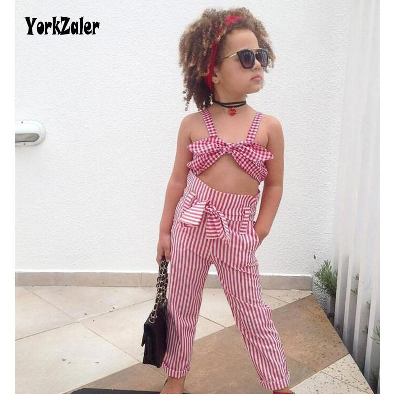 Yorkzaler Kids Baby Clothes Set 2018 Summer Tops + PantsSkirt Niños Colthing Suit Fashion Toddler Baby Striped Outfits