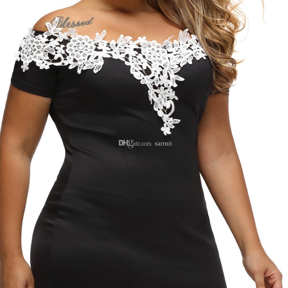 2018 Women Dress Plus Size CHEAPEST Summer Dress F563 Fashion Lace Collar Slash Neck Off Shoulder
