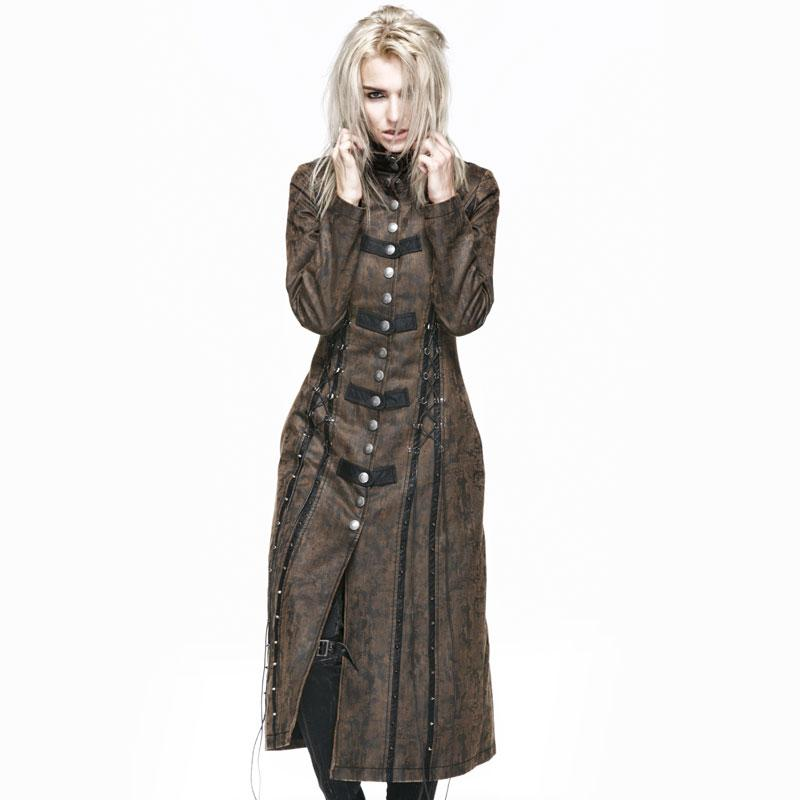 Punk Female Heavy Metal Long Coat Gothic Vintage Women's Windbreakers Washed Leather Spliced Woman Long Sleeves Jackets
