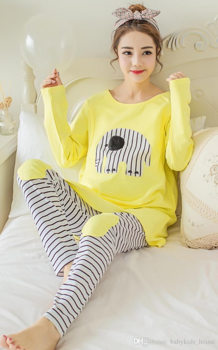 Breastfeeding Pajamas Breast Feeding Nightwear Maternity Nursing ...