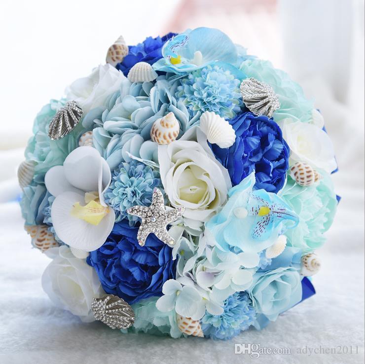 Grosshandel 2018 Romantische Seashell Hochzeit Bouquet Seide Hochzeit