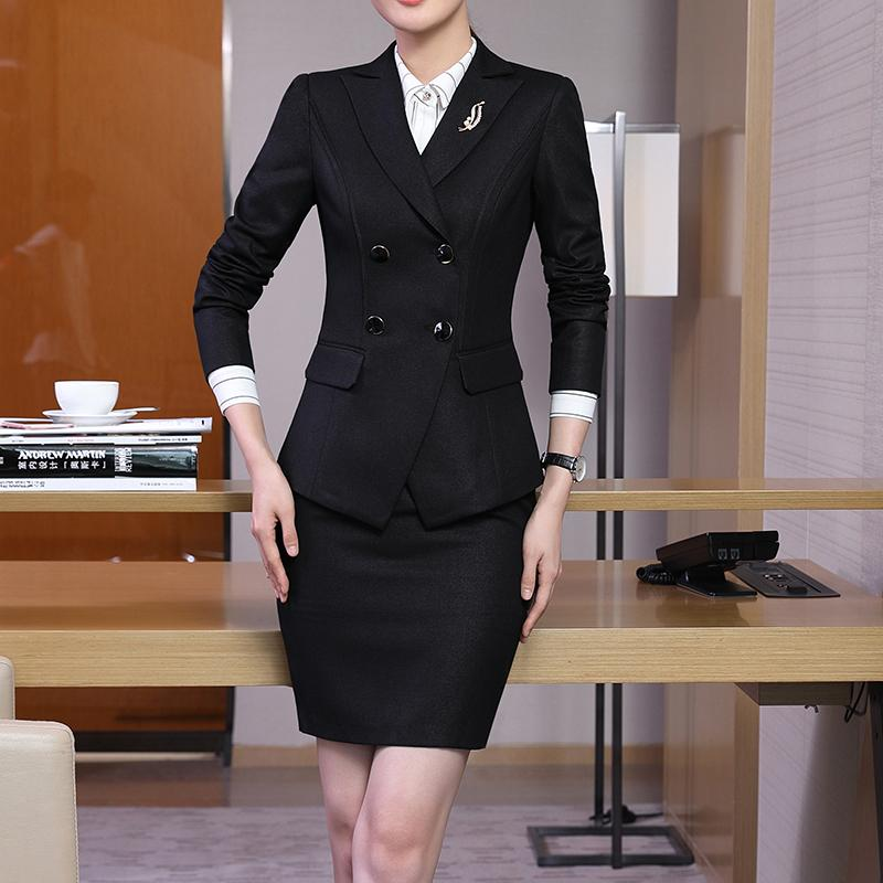 ba61593817a Women Skirt Suit Career Double Breasted Jacket 2 pieces Set office Ladies  Wear