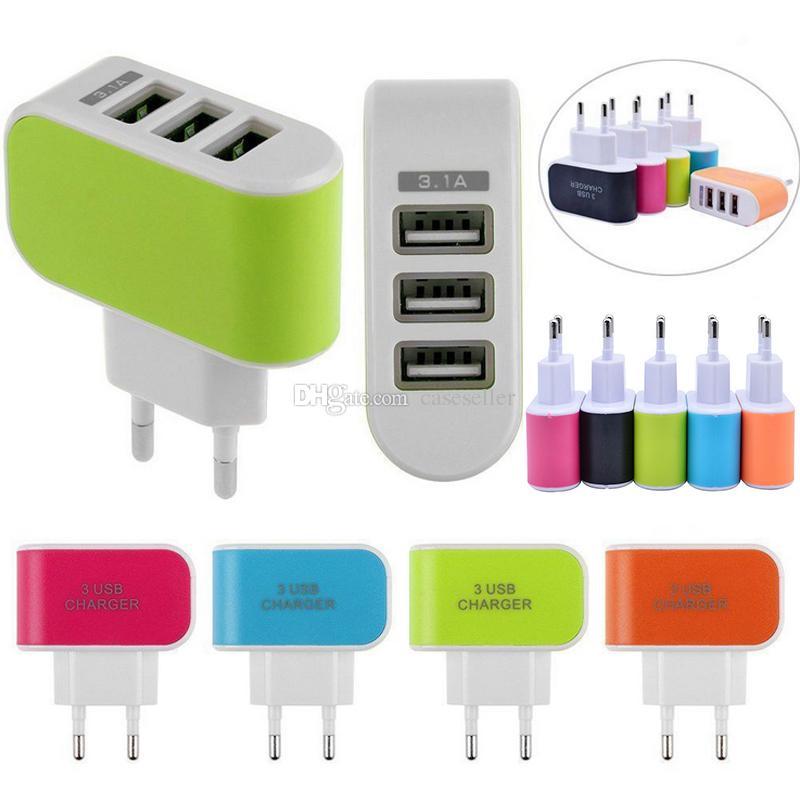 EUA Plug UE 3 Carregadores de Parede USB 5 V 3.1A LED Adaptador de Viagem Conveniente Carregador De Energia para samsung galaxy note tablet telefone ipad
