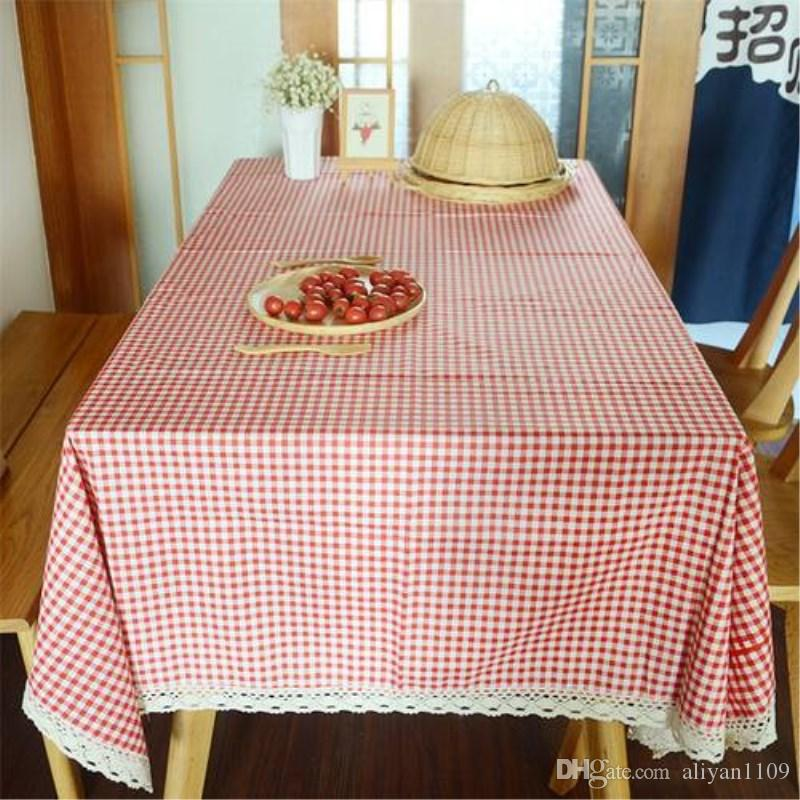 Plaind Table Cloth Multi Size Korean Pastoral Style Red Checked Plaid  Tablecloth Cotton Linen With Lace Cotton Tablecloth Red Tablecloths From  Aliyan1109, ...