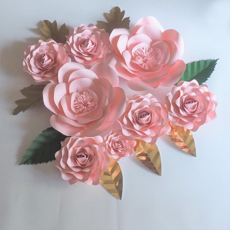 2018 2018 diy half made baby pink giant paper flowers rose leaves 2018 2018 diy half made baby pink giant paper flowers rose leaves wedding event baby nursery artificial roses with video tutorial from fivestarshop mightylinksfo