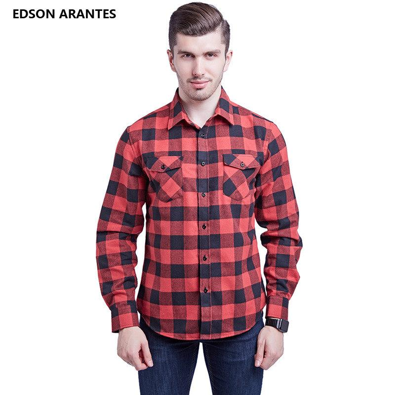 644255fded0 2019 EDSON ARANTES Mens Flannel Dress Shirts 100%Cotton Red Black Plaid  Shirt Full Sleeve Business Casual Slim Fit Social Male Shirt From Sadlyric