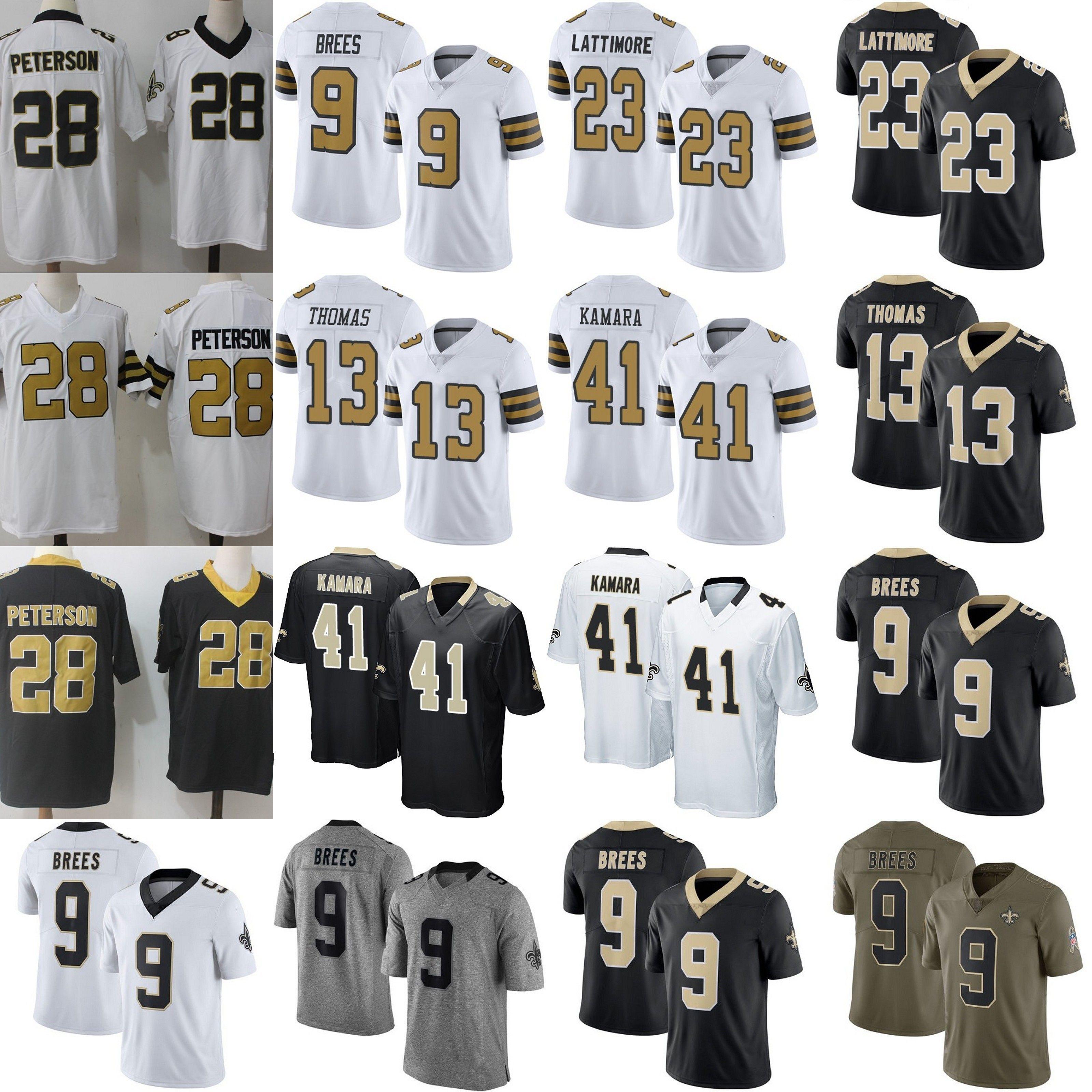 huge selection of 2ea09 52557 9 Drew Brees 41 Alvin Kamara Jersey New Orleans Saints 23 Marshon Lattimore  13 Michael Thomas 7 Taysom Hill Peterson Terrorblade Bryant