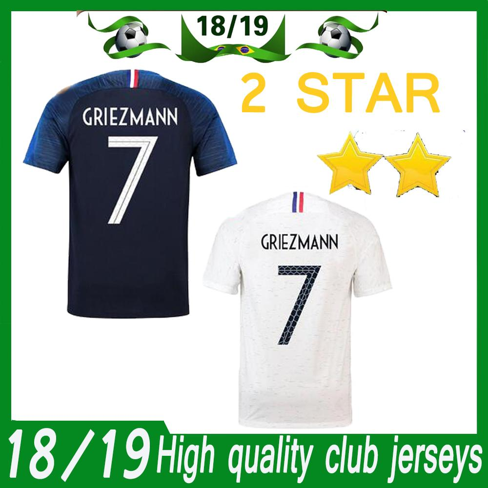 sneakers for cheap e457d 6d538 2 stars 2018 world cup MBAPPE home Soccer Jersey #7 GRIEZMANN #6 POGBA away  white Soccer Shirt 2018 world cup SIZE S-2XL football Uniform