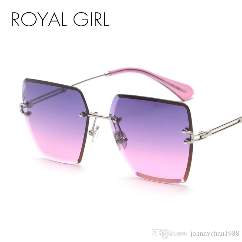 f470c6a33c5 ROYAL GIRL New Design Rimless Sunglasses 2018 Brand Designer Fashion Square  Pink Blue Gradient Lens For Women UV400 Oculos Ss965 Discount Sunglasses  Sports ...