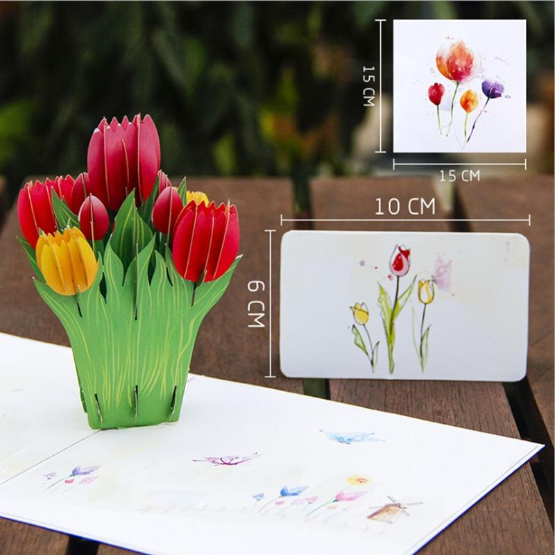 Christmas Bday Cards.23d Pop Up Tulips Flowers Greeting Card Christmas Birthday New Year Invitation