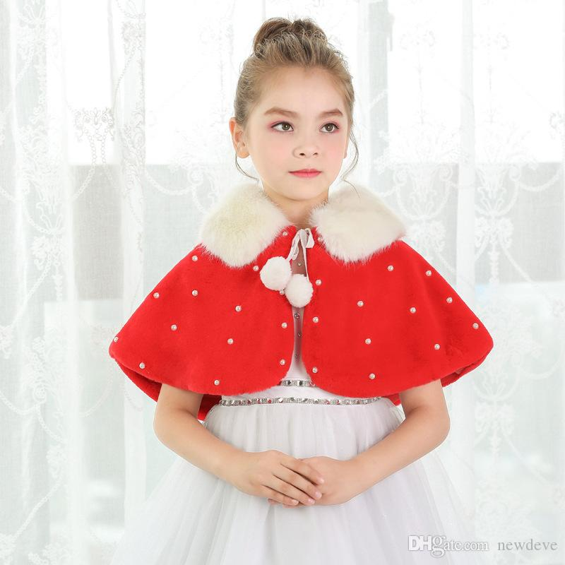 2018 Red Cony Hair Ivory Flower Girl Dress Accessories Pearls Warm Girls Fur Coat