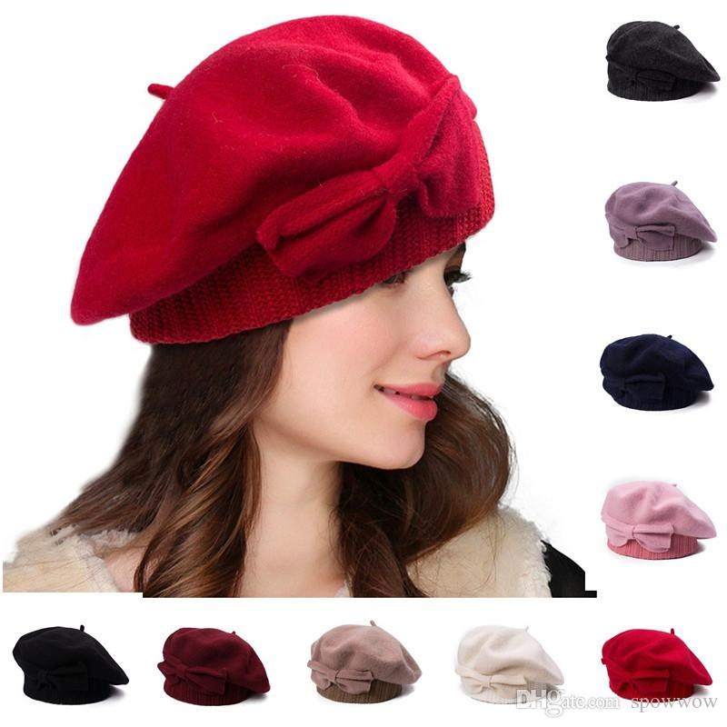 2019 Womens 100% Wool Bowknot Lolita Beret Nipple Vintage Winter Beanie  Skull French Artist Dress Cap A481 From Spowwow 4dccff2355de