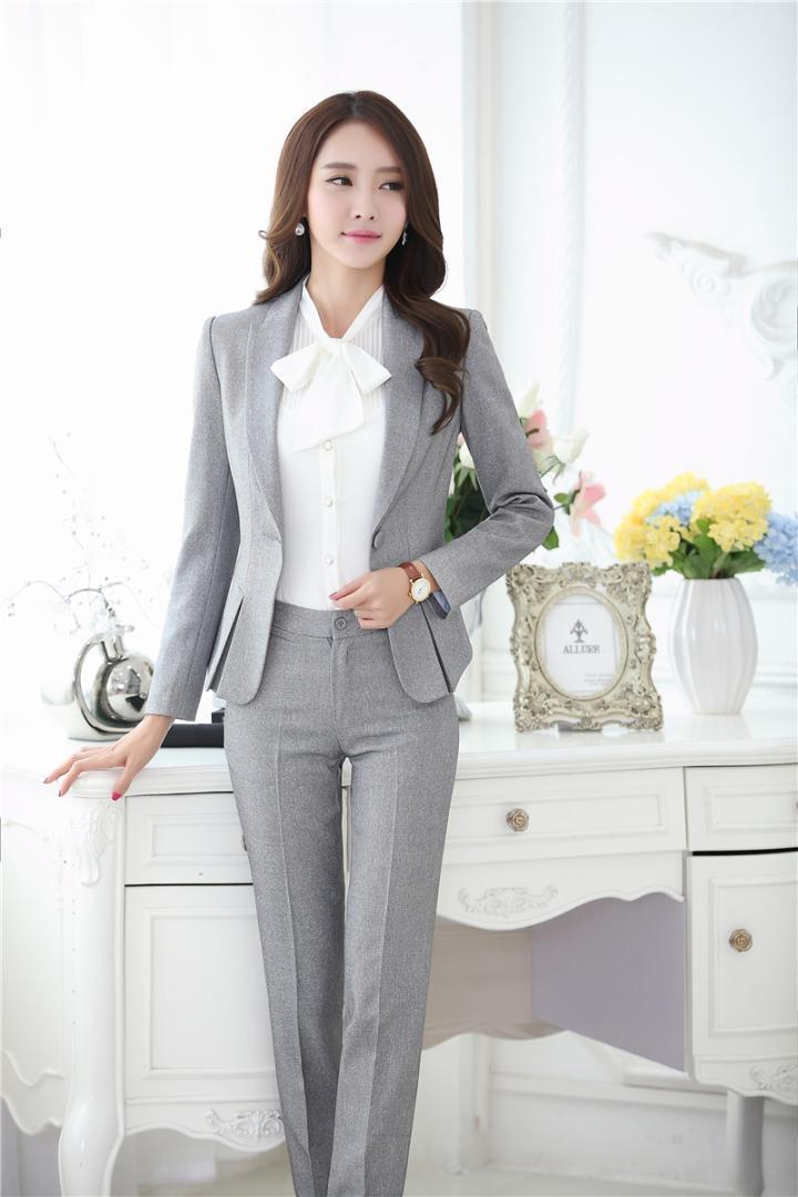 d7d6bd76750e Novedad Gris Diseño de uniforme formal Trajes de negocios profesionales  Chaquetas y pantalones Oficina para mujer Pantalones femeninos Conjuntos ...