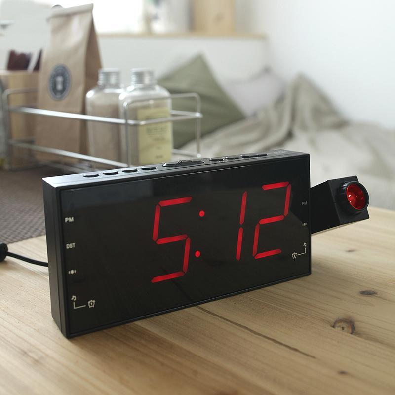 Creative Bedroom Projection Alarm Clock Radio Clock Radio Bedside LED  Electronic Mute