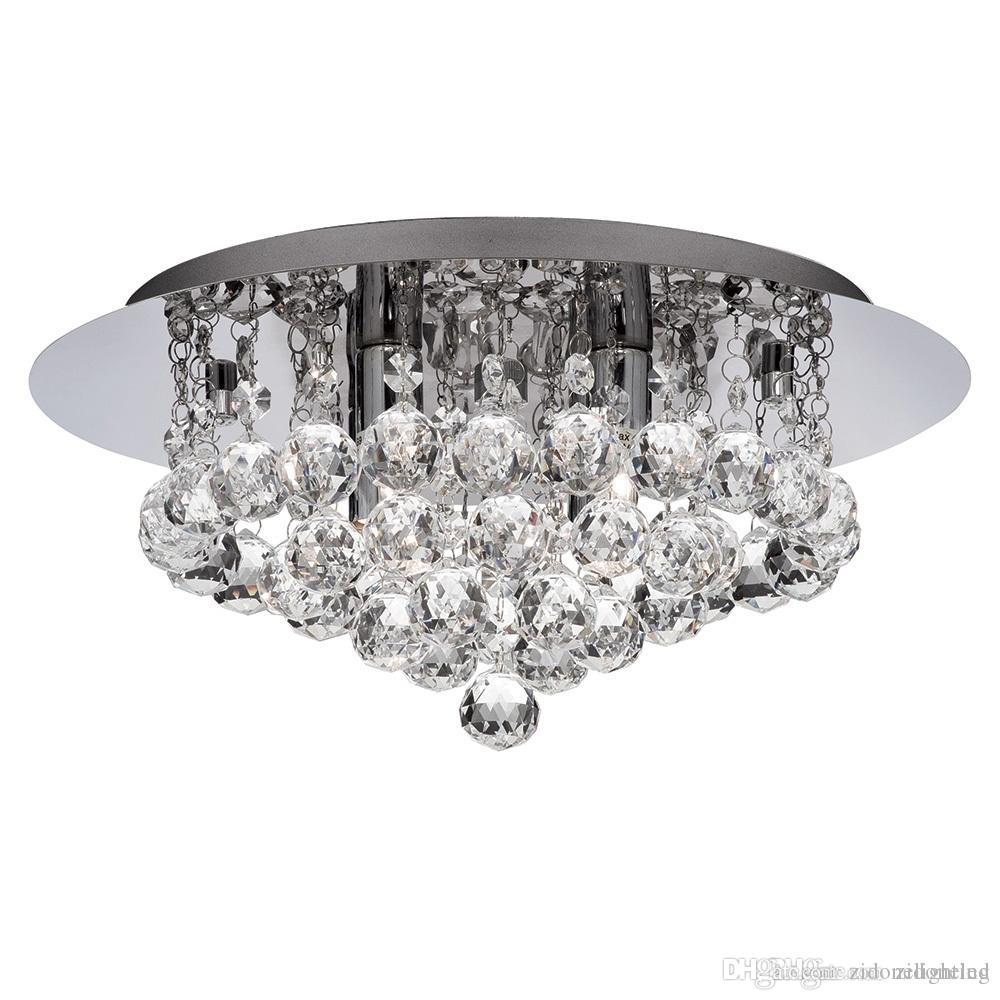 New Modern Round Crystal Ceiling Light Fixtures K9 Rain Dorp Wiring A Fixture For Living Room Bedroom Lighting Dia40h25cm Wire Chandelier Overstock
