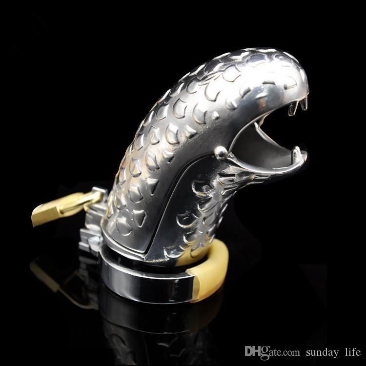 !!!NEW Stainless Steel Device Snake-Head Chastity Cock Cage Penis Ring Sex Toys Bondage Chastity belt SNA304