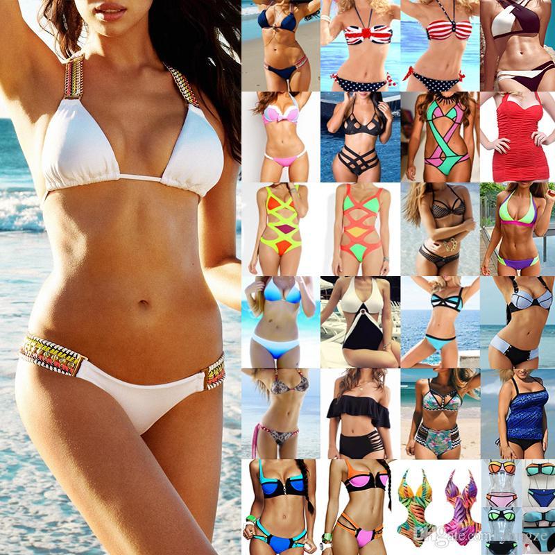 56ad714acdbc9 Women's Clothing Bikini Swimwear Solid & Ombre Fringe Strap Halter Padded Lady  Swimming Swimsuit bathing Suit Top & Bottom 50pcs
