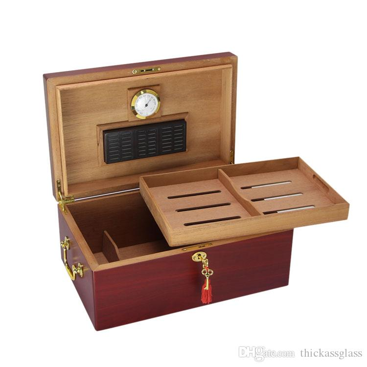 New arrival high-end rectangel double layer red color cedar cigar humidor with a mini lock has humidifier and hygrometer