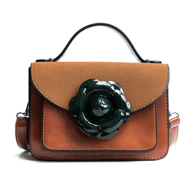 2416887f79 Designer Handbags Women Frosted Bag PU Leather New Flowers Fashion Small  Square Bags Popular Shoulder Bag Lady Crossbody Bags Brown Handbag Ladies  Purse ...