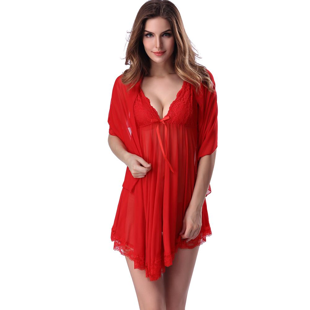 6953a847e24 2019 Sexy Women Lingerie Sleep Dress Semi Sheer Mesh Lace Trim Babydoll  Mini Dress Sleepwear With Shawl   G String Underwear Set 2018 From  Bestshirt007