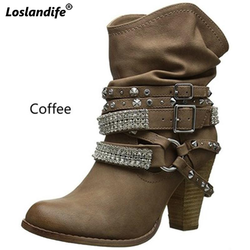 Booties Woman 2018 Thick High Heels Belt Buckle Women S Winter Boots Round  Head Large Size Female Shoes Rivet Rhinestone Boots Ankle Boots For Women  Mens ... 4df6caffc529