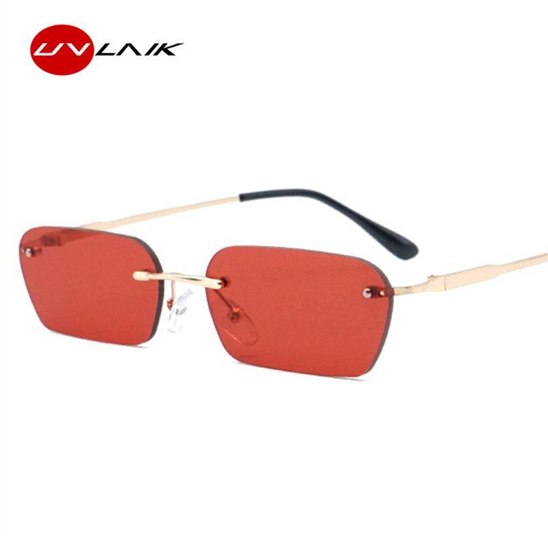fc085223f3111 Compre UVLAIK Vintage Sem Aro Óculos De Sol Mulheres 2019 Marca De Luxo Olho  De Gato Óculos De Sol Homens Pequeno Quadrado Sunglass Retro Preto Amarelo  De ...