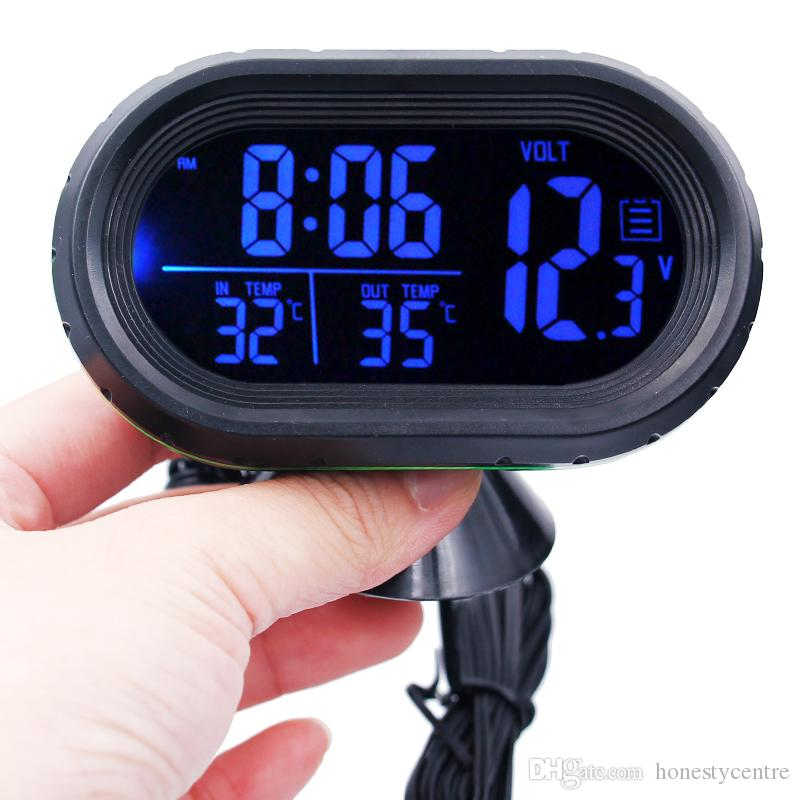 DC12V -24V 다기능 디지털 시간 미터 자동차 온도계 전압계 시계 자동 계기 시계 고정 온도계