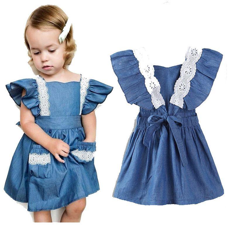 9a56696e712e 2019 Baby Girls Denim Dress Children Lace Flying Sleeves Princess ...