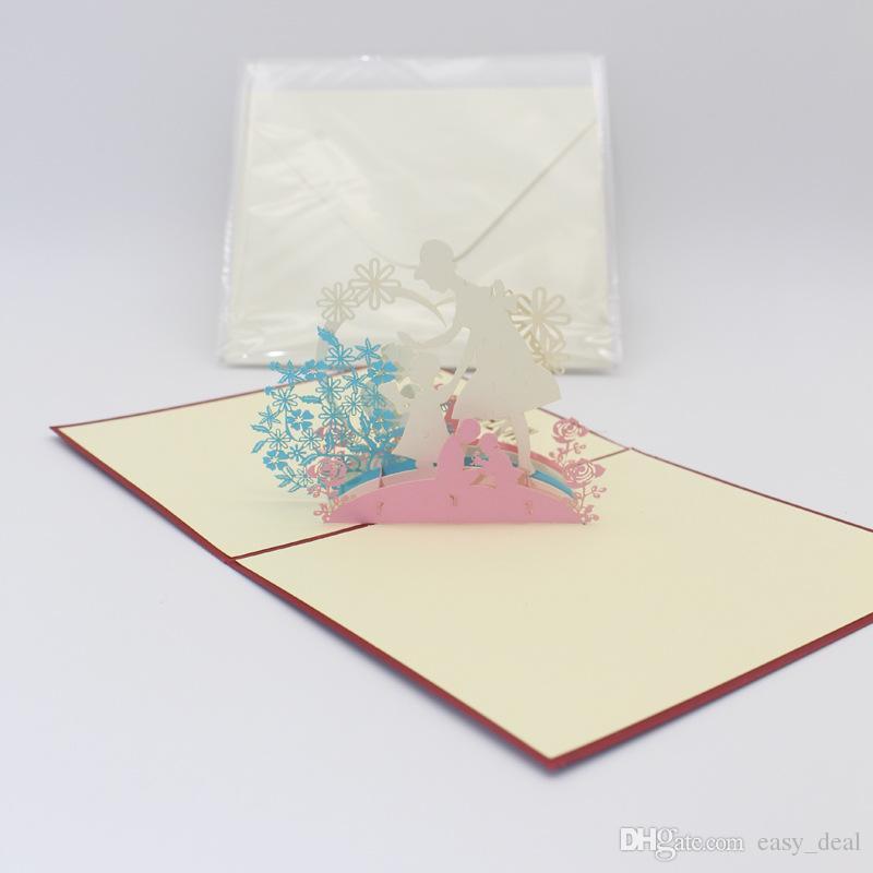 Tebrik Kartı 3D Pop Up anneler Günü Doğum Günü Teşekkür Kartı Lazer Kesim Hollow El Yapımı Festivali Malzemeleri ZA6239