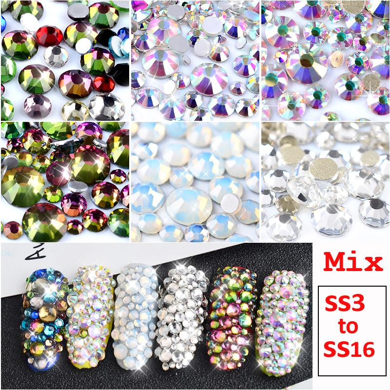 1 Pack Mix SS3-SS16 Crystal Clear AB Opal White Non Hotfix Flatback Nail  Rhinestones 3D Charm Strass Gems Nail Art Decorations Nail Art Decorations  Gem Nail ... f7e93919ad4c