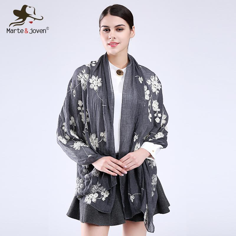 61c36ee8faa20 Marte&Joven Vintage Style Flower Embroidered Women Scarfs Oversized Long  Cotton Blends Casual Retro Shawls And Scarves Ladies D18102905 Tartan  Scarves Plaid ...