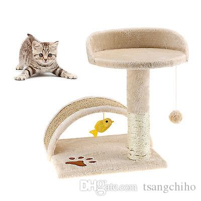Nuovo 16 pollici piccolo gatto albero Scratcher Scratcher Kitten Gioca Toy Scratching Activity Center Bed