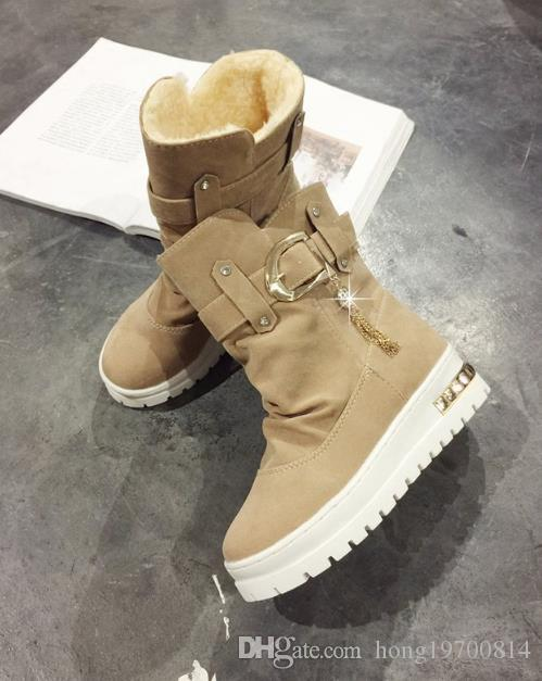 2018 New Winter Women's Boots Plus Velvet Swing Shoes Snow Platform Boots Female Thermal Cotton-padded Shoes Flat Ankle Boots