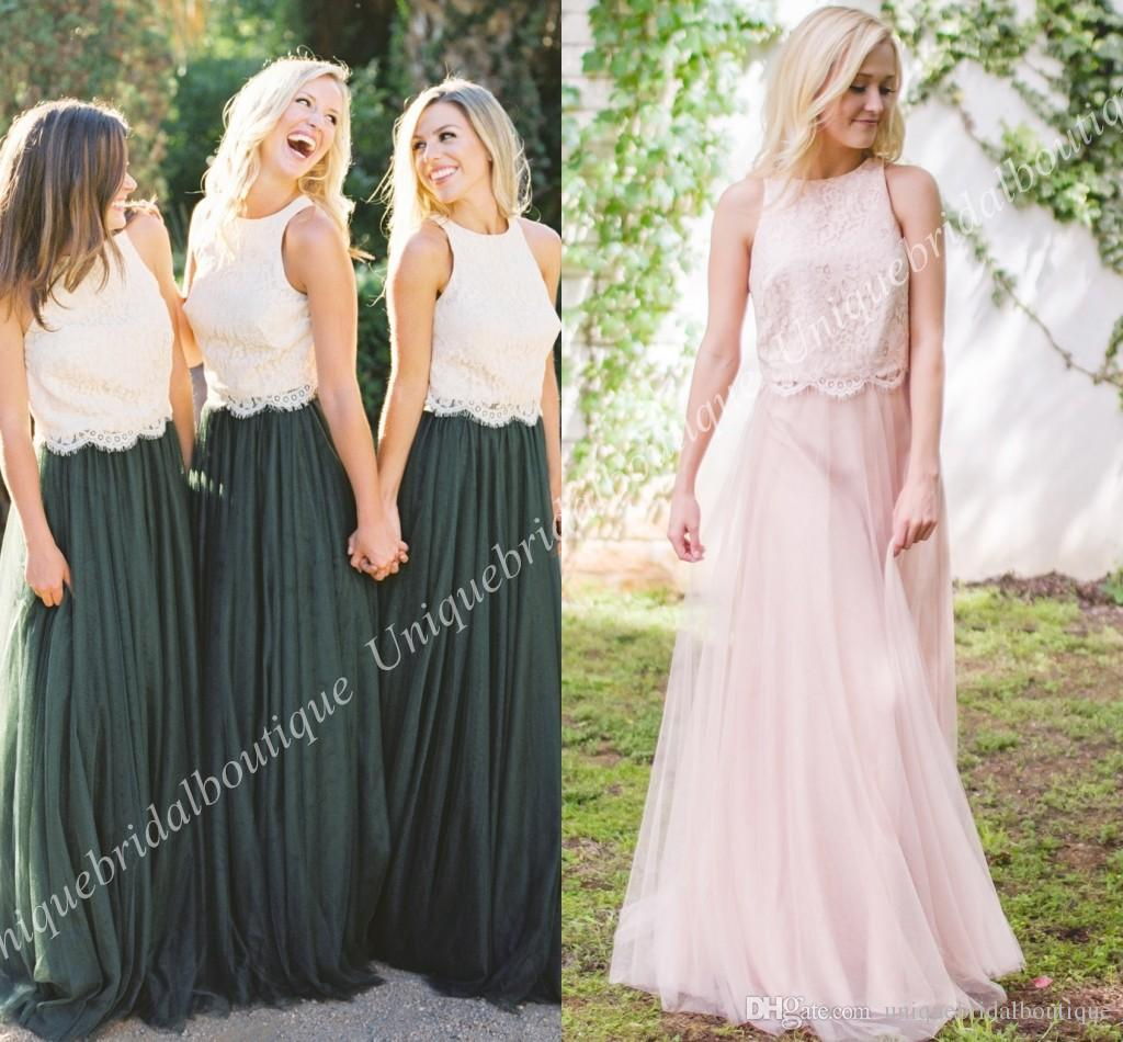 Two pieces junior bridesmaid dresses 2018 lace top tulle skirt mix two pieces junior bridesmaid dresses 2018 lace top tulle skirt mix and match country maid of honor gowns full length wedding guest party cool bridesmaid ombrellifo Images